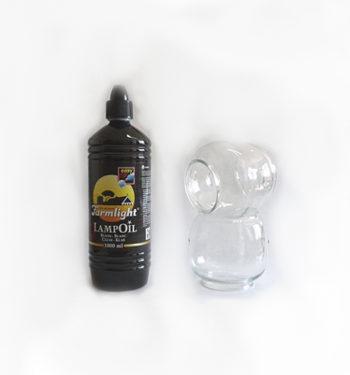 2 verrines pour lampe Marine +1 litre huile