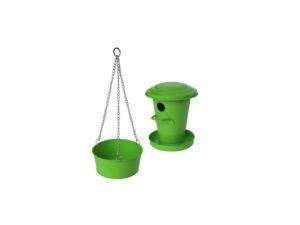 Birdhouse and bird bath (green)