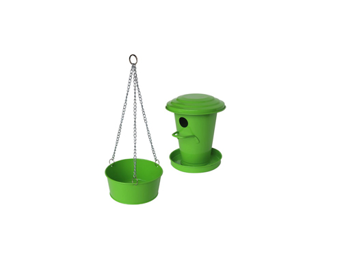 Birdhouse and bird bath (green)