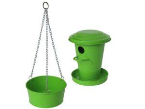 Bain d'oiseau pour jardin Vert1.5L