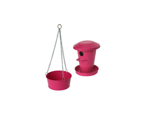 Birdhouse and bird bath (pink)