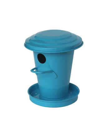 Nichoir bleu et sa réserve de graines en acier galvanisé
