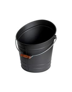 Seau de cheminé en acier galvanisé Noir mat