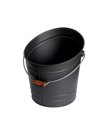 Bucket of walked with a handle wood, steel galvanized matt Black of a volume of 17L
