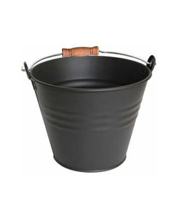 Seau avec poignée en bois pour cendres ou granulés, d'une contenance de 7L