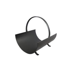 Panier à bois d'une longueur de 40 cm en acier galvanisé Noir Mat