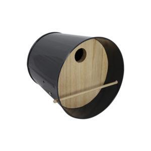 Nichoir - Abri pour oiseaux en acier galvanisé Noir