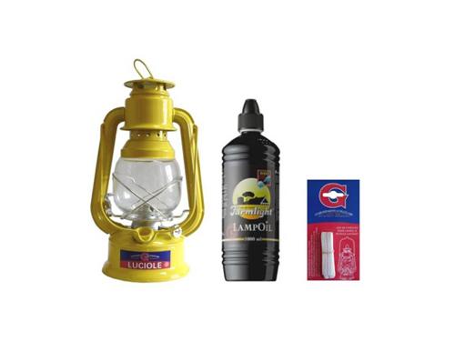 "hurricane lamp oil ""Yellow"" with oil + 1 liter of oil + 3 wicks"
