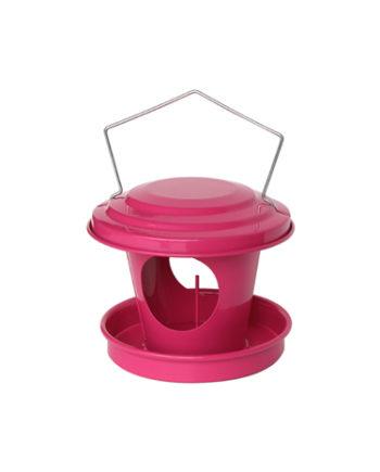 Mangeoire boule de graisse pour oiseaux en acier galvanisé Rose