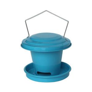 Agrainoir bleu de jardin pour oiseau en acier galvanisé