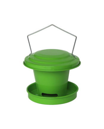 Agrainoir de jardin pour oiseau en acier galvanisé Vert