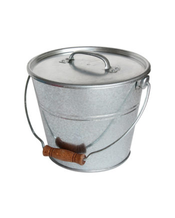 Bucket with wooden handful and cover for ashes or granules, of a volume of 7L